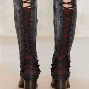 FREEBIRD BY STEVEN BLACK WINE DISTRESSED LACE BOOT